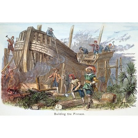 Huguenot Colony 1562 Nhuguenot Colonists At Fort Caroline Florida Building The Ship Pinnace To Return Them To France 1562 Wood Engraving Rolled Canvas Art     18 X 24