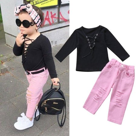 Toddler Kids Girls Sexy Bandage Tops Ripped Jeans Pants 2pcs Clothes Outfit Set ()