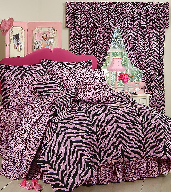 Kimlor Black & Pink Zebra Print Bed in a Bag Set - Queen ...