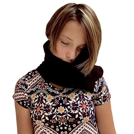IBRR Neck Scarf Travel Pillow Black Color, Ergonomic Comfort, Machine Washable, Soothing Neck Support