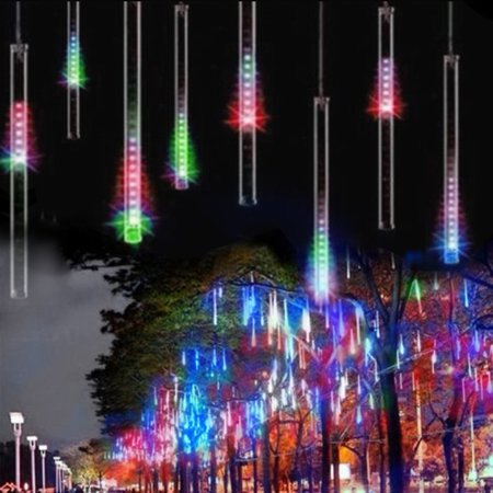 (Changeable Color Meteor Shower Rain Lights Waterproof String for Wedding Party Christmas Xmas Decoration Tree Party Garden Xmas String Light Outdoor 8 Tube)