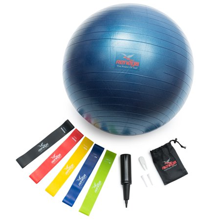 Resistance Bands Set Of 5 With Exercise Ball 65 cm Stability Ball For Home Workout Reneg8