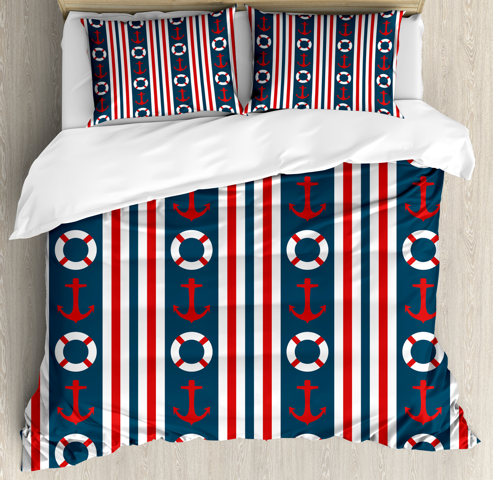 Nautical Duvet Cover Set, Vertical Borders Stripes Maritime Theme Steering Wheel and Anchor Pattern, Decorative Bedding Set with Pillow Shams, Indigo Red White, by Ambesonne