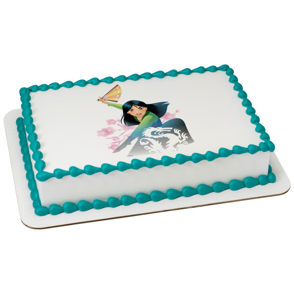 "Disney Princess Mulan Destined 7.5"" Round Sheet Image Cake Topper Edible Birthday Party"