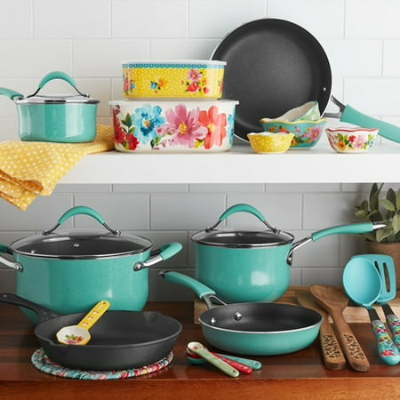 The Pioneer Woman Frontier Speckle 25-Piece Nonstick & Cast Iron Cookware Combo Set Now $69 (Was $119)