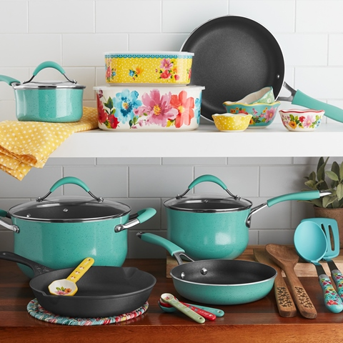 The Pioneer Woman Frontier Speckle 25-Piece Nonstick & Cast Iron Cookware Combo Set