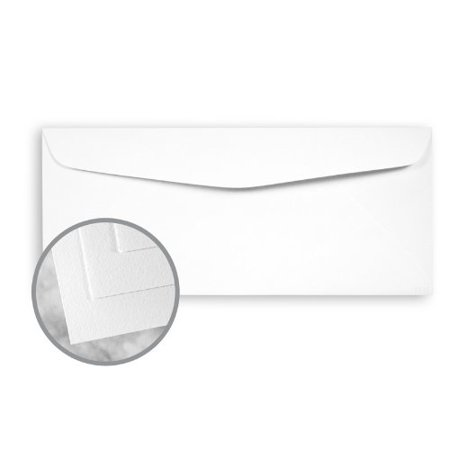 Strathmore Writing Recycled Bright White Envelopes - No. 10 Commercial (4 1/8 x 9 1/2) 24 lb Writing Wove 30% Recycled 25% Cotton Watermarked 2500 per