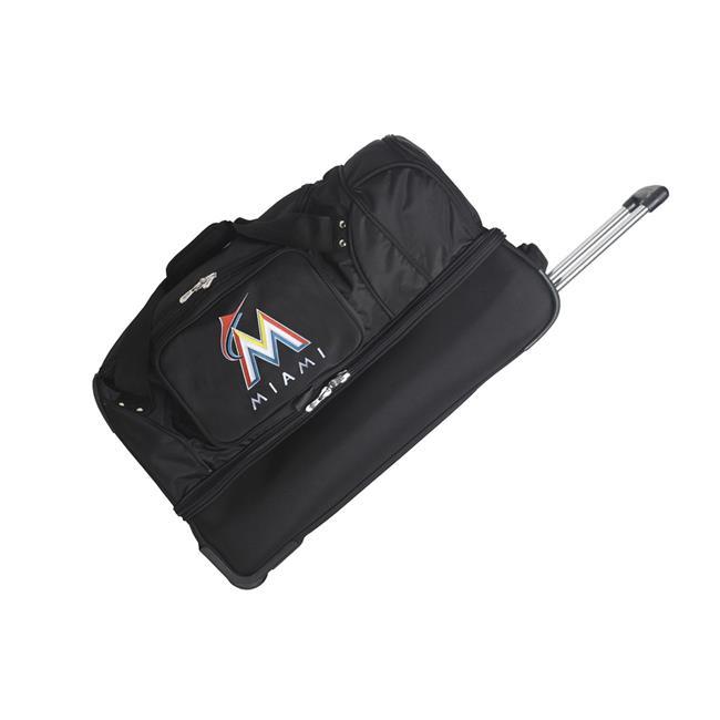 Mojo Licensing MLFLL300 MLB Miami Marlins 27 in. Wheeled Duffel Nylon Bag - Black - image 1 of 1