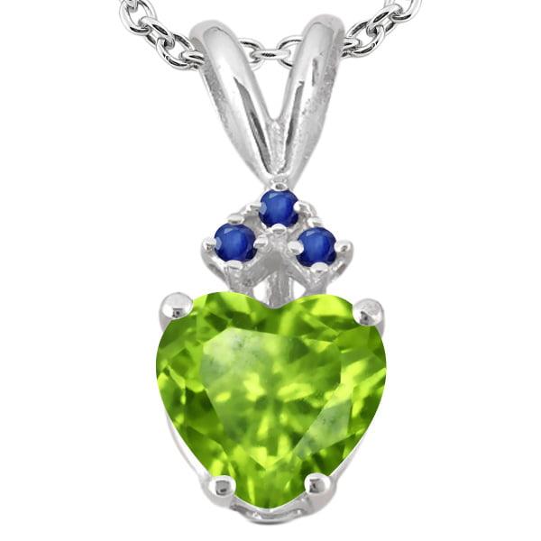 0.71 Ct Heart Shape Green Nano Emerald Blue Sapphire 14K White Gold Pendant