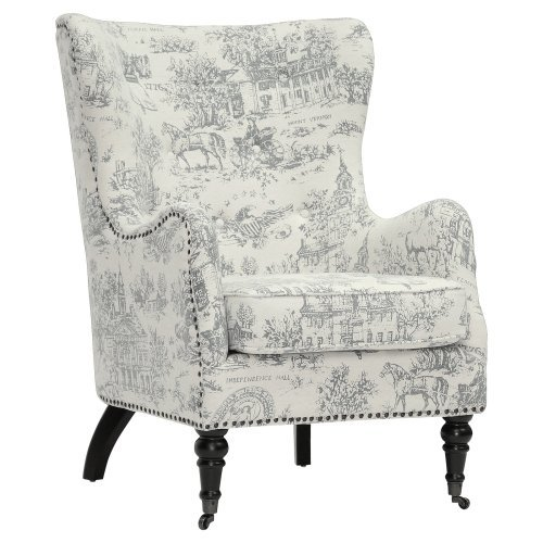 Wholesale Interiors Baxton Studio Livingston Linen Colonial Print Arm Chair