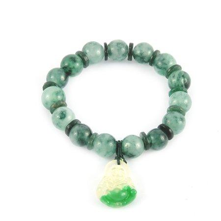 Green Jade Carved Buddha Pendant (Faux Jade Prayer Beads Plastic Buddha Pendant Bracelet)