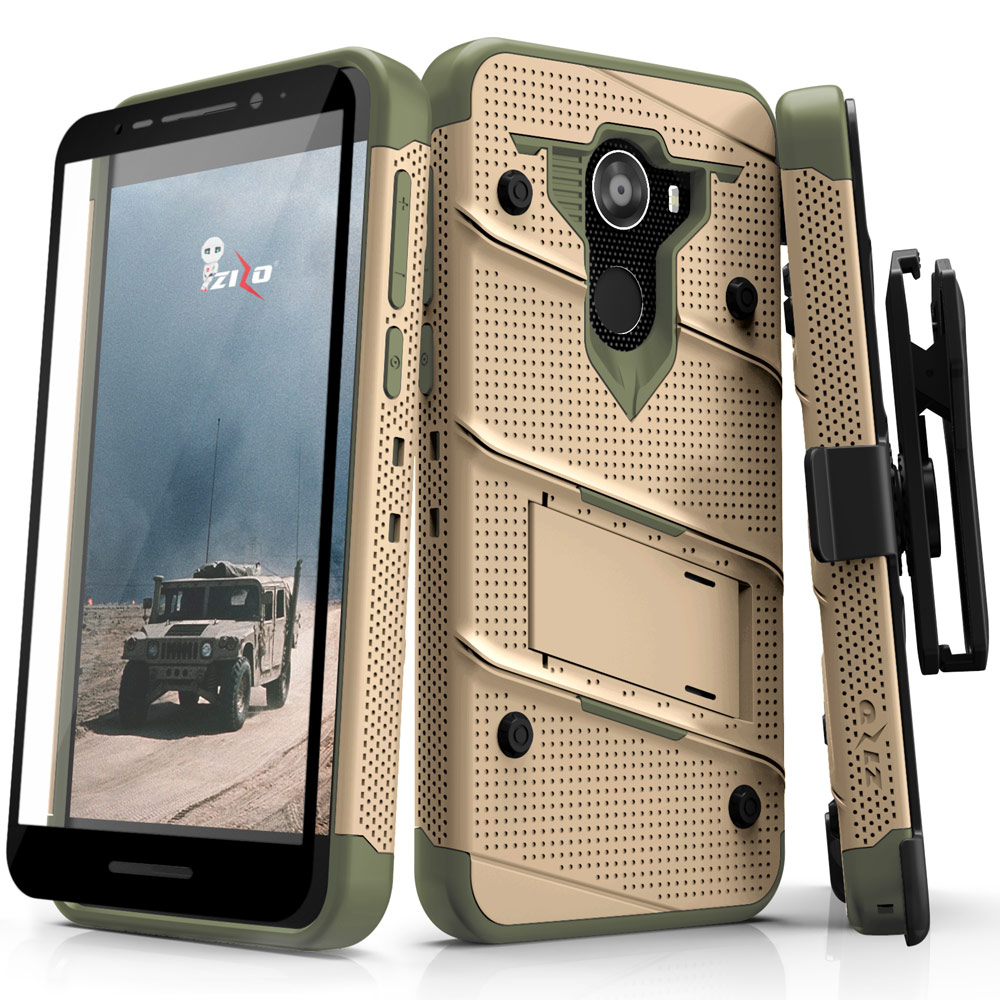 Alcatel A30 Fierce Case, Zizo [Bolt Series] with FREE [Full Glass Alcatel A30 Screen Protector] Kickstand [12 ft. Military Grade Drop Tested] Holster
