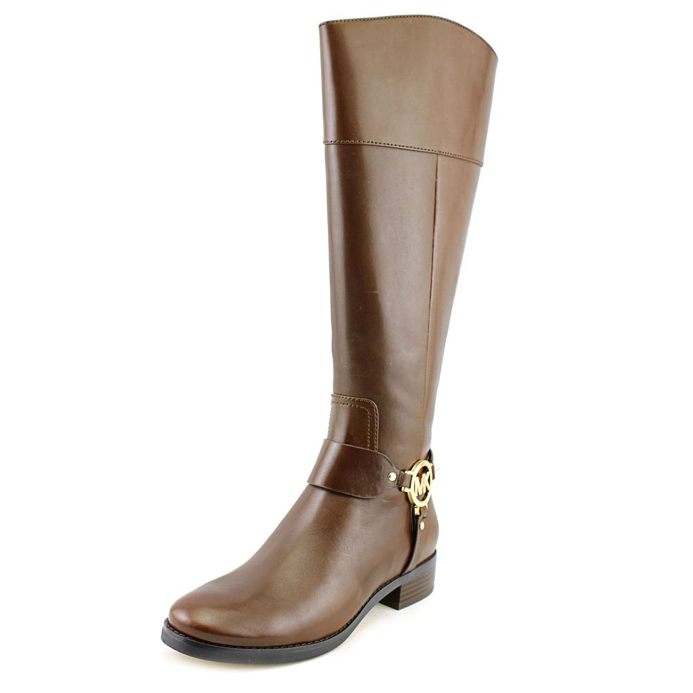 Michael Kors Fulton Harness Boot Round Toe Leather Knee High Boot