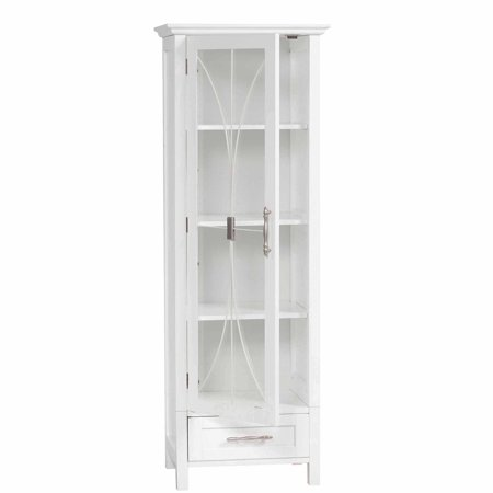 Delaney Linen Cabinet with 1 Door and 1 Bottom Drawer, White