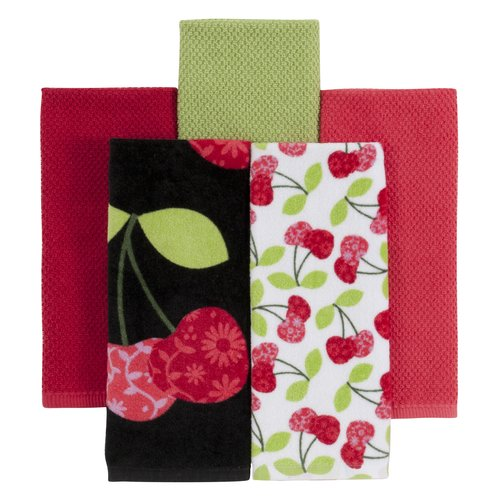 Mainstays Kitchen Towels, Cherry, 5-Pack