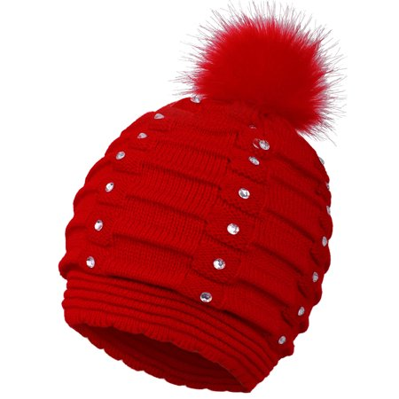 Red Ladies Knit Beanie (Winter Warm Beanie for Women Knitted Sequins Pompom Beanie Hat Red )