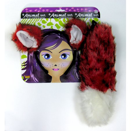 Adult Fox Animal Headband Ears And Tail Dress Up Kit Costume Accessory - Animal Ears Costume