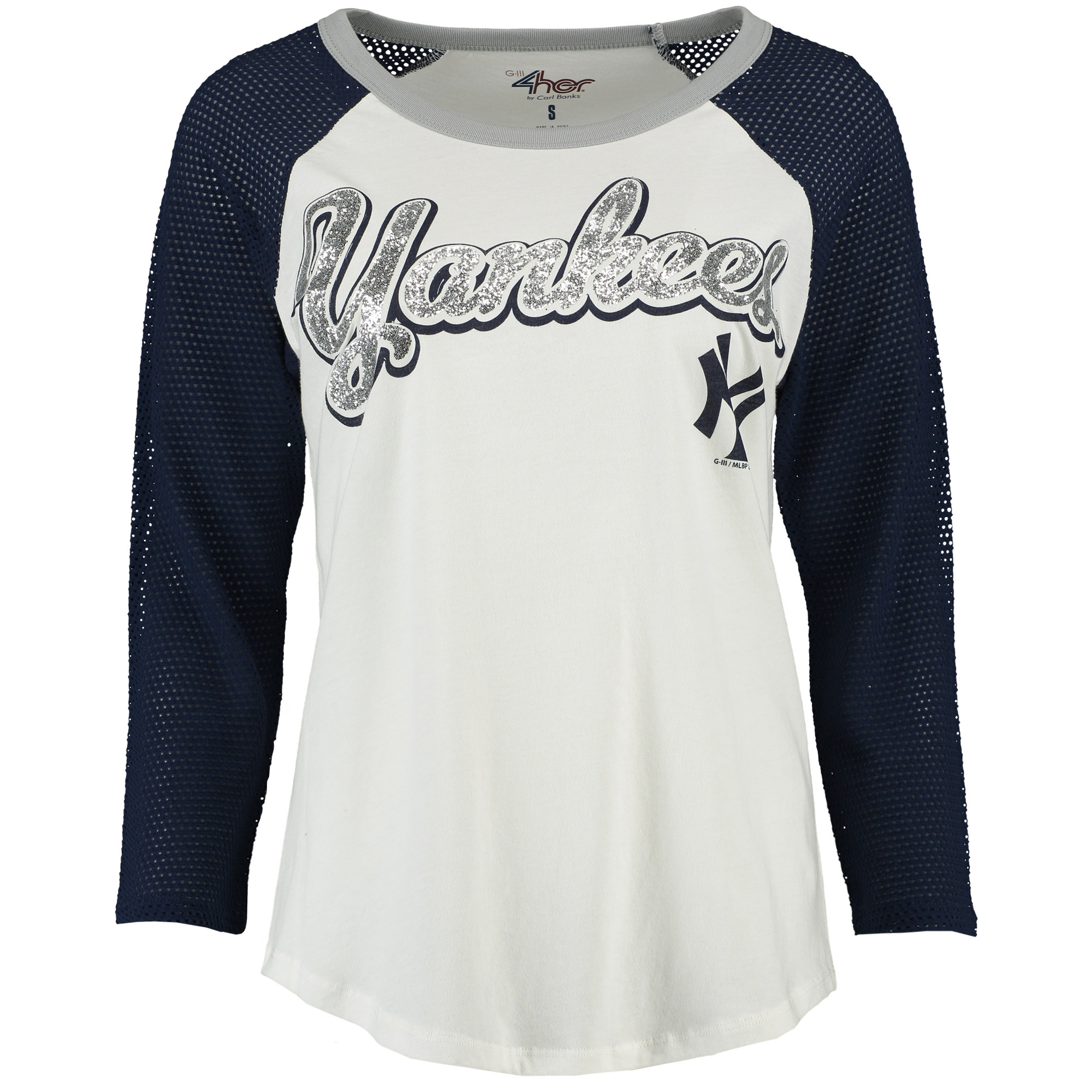 New York Yankees G-III 4Her by Carl Banks Women's Backstop Raglan Long Sleeve Shirt - White
