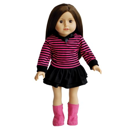 Striped Top, Skirt, and Pink Boots for Dolls- 18 inch Doll Clothing