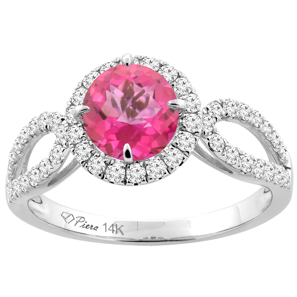 14K White Gold Natural Pink Topaz Engagement Halo Ring Round 6 mm ...