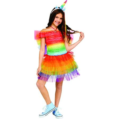 eff92cb54d99 Child s Girl s Ruffled Rainbow Unicorn Costume - Walmart.com