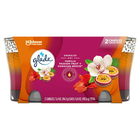 Glade 2in1 Jar Candle 2 CT, Hawaiian Breeze & Vanilla Passion Fruit, 6.8 OZ. Total, Air