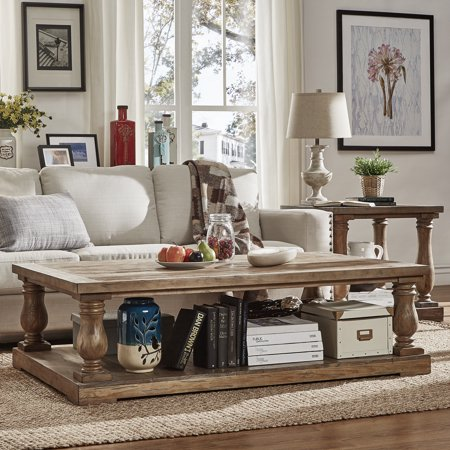 Weston Home Dunbar Pedestal Coffee Table With Lower Storage Shelf