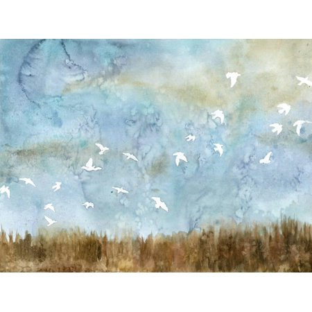 Birds in Flight I Watercolor Landscape Skyscape Nature Bird Painting Print Wall Art By Megan Meagher