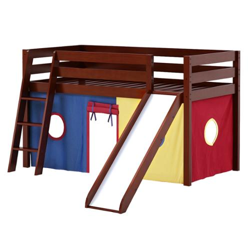 Merveilleux Maxwood Furniture Inc Shuffle Low Loft Bed With Angle Ladder, Slide And  Underbed Curtain