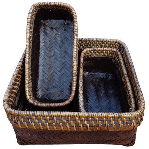 Baum Flat Bamboo Rectangular Baskets, Set of 3, Espresso
