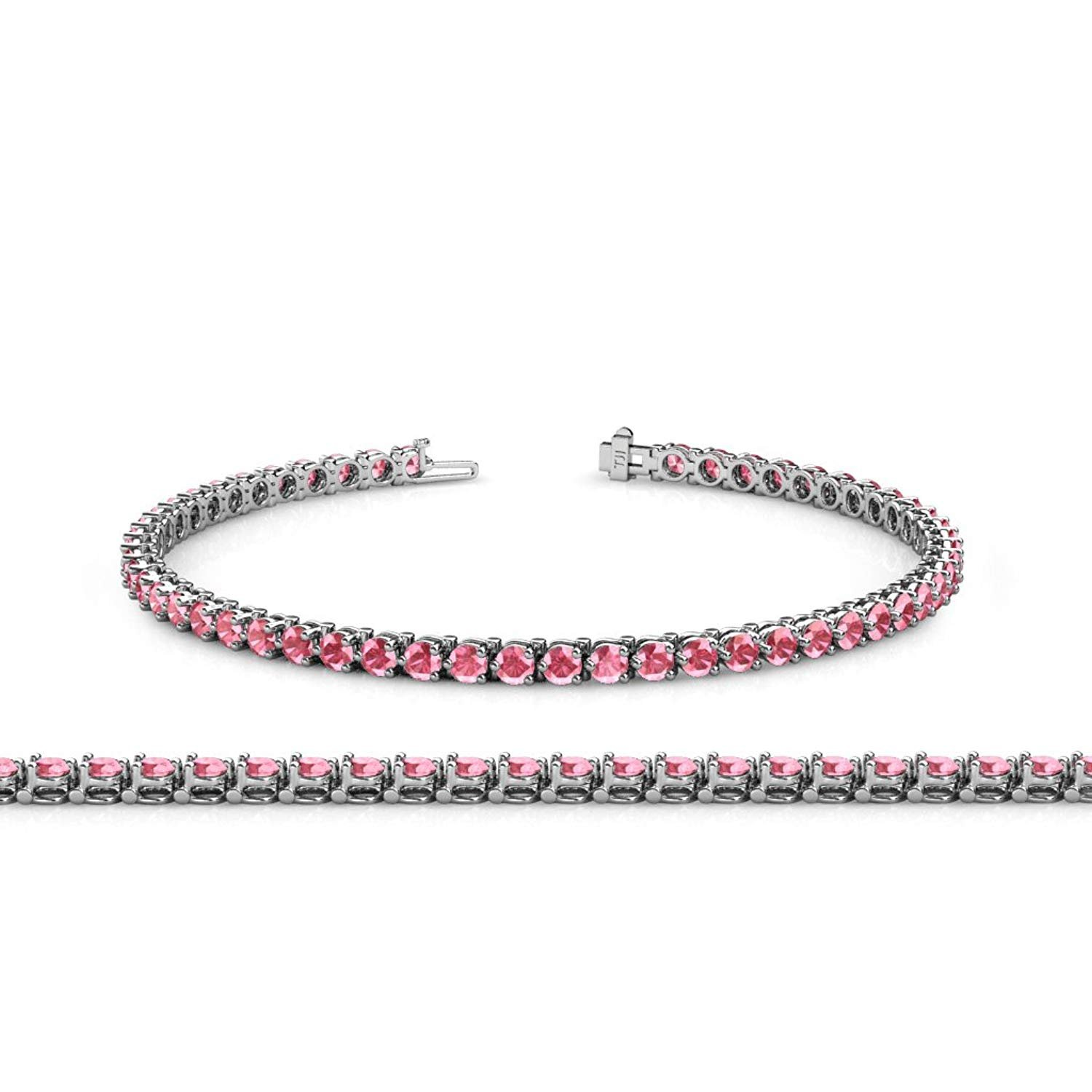 Pink Tourmaline 2.8mm 3-Prong Tennis Bracelet 3.93 ct tw in 14K White Gold by TriJewels