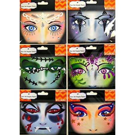 Temporary Fake Tattoos 6 Different Designs Set Of 6 Face Art Sequin Tattoo