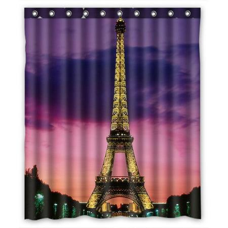 Zkgk Paris Eiffel Tower Waterproof Shower Curtain Bathroom Decor Sets With Hooks 60x72 Inches Walmart Com