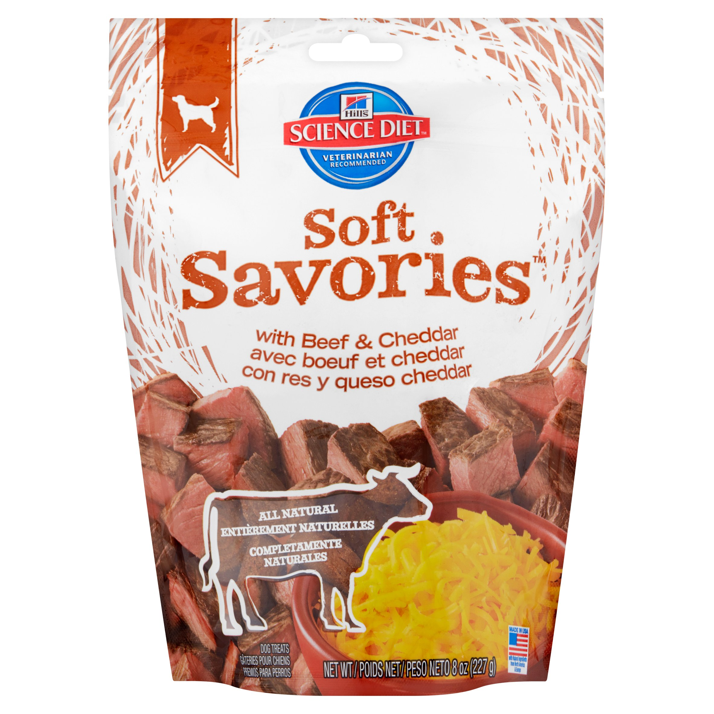 Hill's Science Diet Soft Savories with Beef and Cheddar Dog Treats, 8-oz Bag
