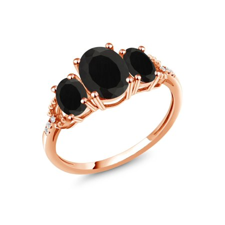 2.07 Ct Oval Black Onyx 10K Rose Gold Diamond Accent Ring