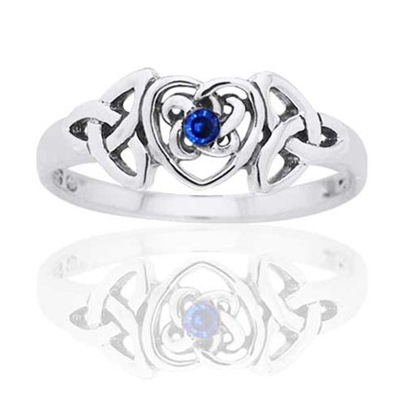 September Birthstone Ring - Sterling Silver Simulated Sapphire Glass Celtic Trinity Knot Heart