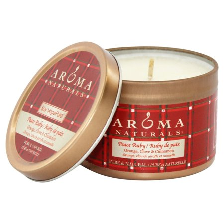 Aroma Naturals - Peace Ruby Holiday Soy VegePure Small Travel Tin Eco-Candle Orange, Clove and