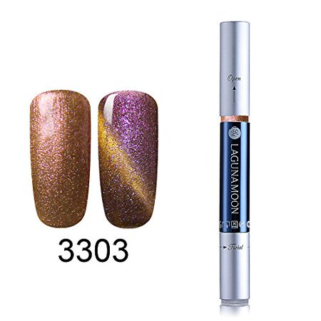 Lagunamoon Gel Nail Polish Pen,Starry Cat Eye Effect Soak Off UV LED Gel Nail Polish Pen Glitter Color Nail Art Pens