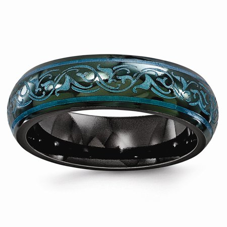 Teal Wedding Rings (Edward Mirell Black Ti Domed Anodized Teal 6mm Wedding Band)