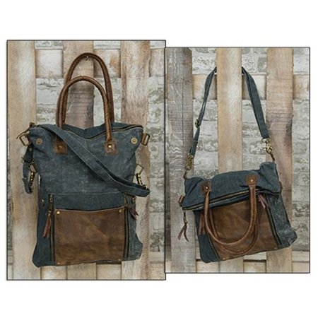 Blue & Leather Fold-Over Convertible Tote (Stella Mccartney Falabella Small Fold Over Tote)