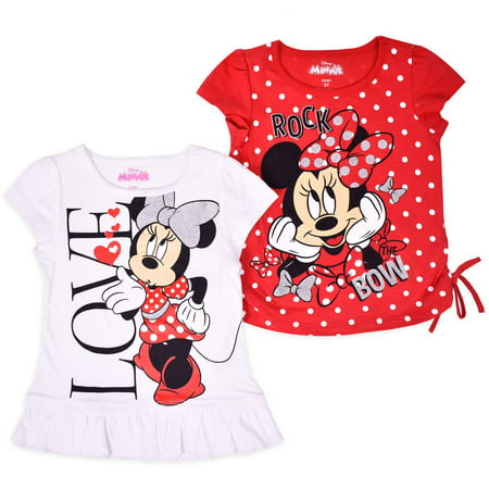 Minnie Mouse Toddler Girl Side Tie T-Shirt & Ruffle Hem T-Shirt, 2-pack