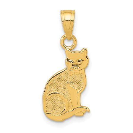 14kt Yellow Gold I Heart My Cat On Reverse Pendant Charm Necklace Animal Fine Jewelry Ideal Gifts For Women Gift Set From Heart