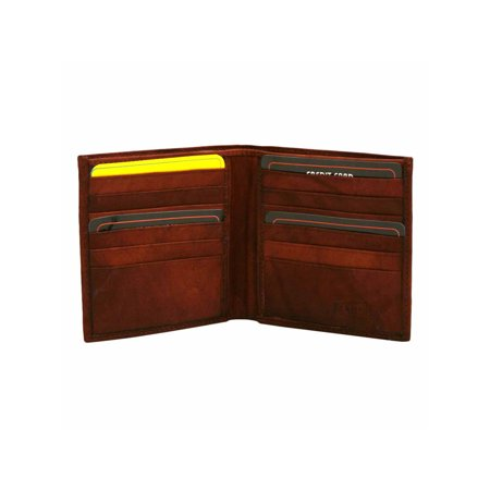 Burgundy Leather Mens Wide Classic Bifold Wallet