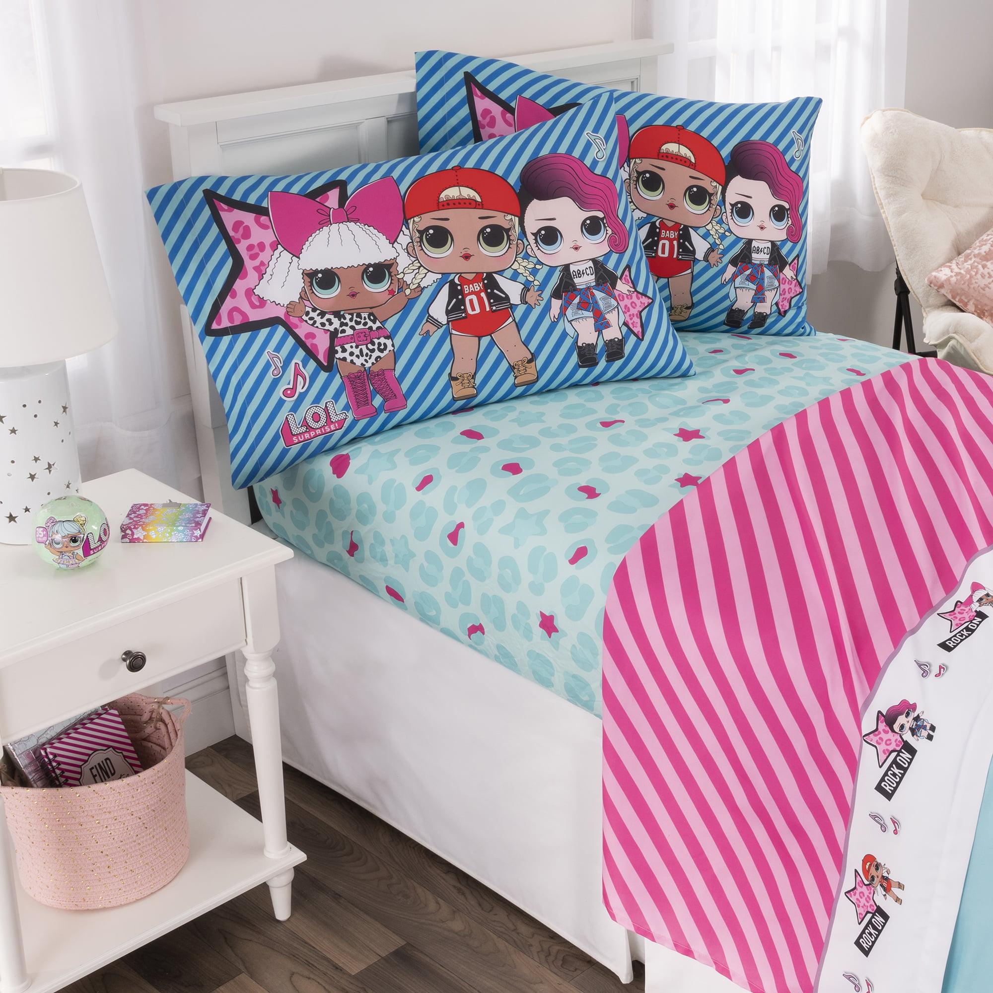 L.O.L. Surprise! Kids Bedding Sheet Set, Blue or Pink