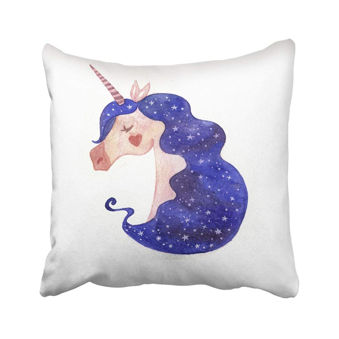 ARTJIA Watercolor With Unicorn Beautiful Mane Starry Sky Horse's Head Gentle Children's Drawing Pillowcase Throw Pillow Cover 18x18 inches