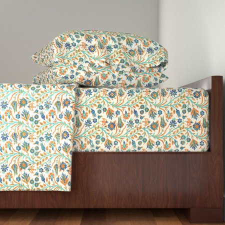 Block Print Floral Indian Inspired 100% Cotton Sateen Sheet Set by Roostery