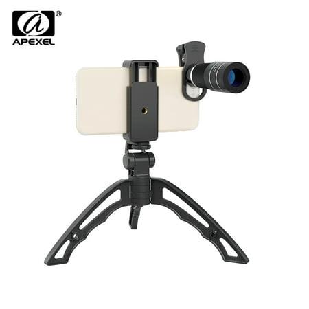 APEXEL APL-20XJJ04 Telephoto Lens Kit Portable 20X Telephoto Zoom Lens Monocular Telescope Lens with Flexible Tripod Phone Holder for HUAWEI Xiaomi 5.5cm-8.7cm Width (Lens Width)