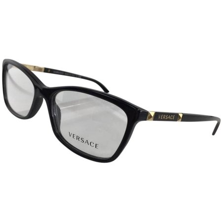 13e9647ee4938 New Versace MOD 3186 GB1 Black Gold Plastic Eyeglasses 54mm - Walmart.com