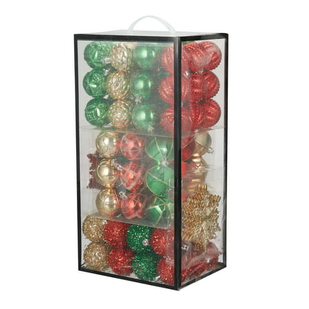 Holiday Time Traditional Shatterproof Christmas Tree Ornaments, 101 Count Holiday Pierced Ornament