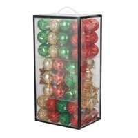 Holiday Time Traditional Shatterproof Christmas Tree Ornaments, 101 Count